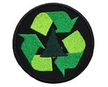 "Recycle Embroidered Applique Iron On Patch 3"" Reduce Reuse Sign Scouts Earth Wor"