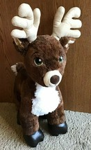 Build a Bear Plush Brown White Reindeer Green Eyes Black Hooves Christma... - $30.00