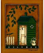 Green Outhouse Folk Art Sampler Print Ready-to-... - $4.75