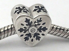 Authentic Pandora Snowflake Heart Sterling Silver Charm, 796359CZ, New - $37.99