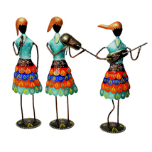Musician Lady Set of Three pcs, Iron Made Hand Crafted Musical Lady Set ... - $126.99