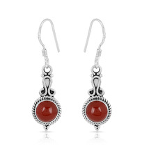 Red Onyx Smooth Stone Earring, 925 Silver Earring, Round Shape, Dangle E... - $14.99