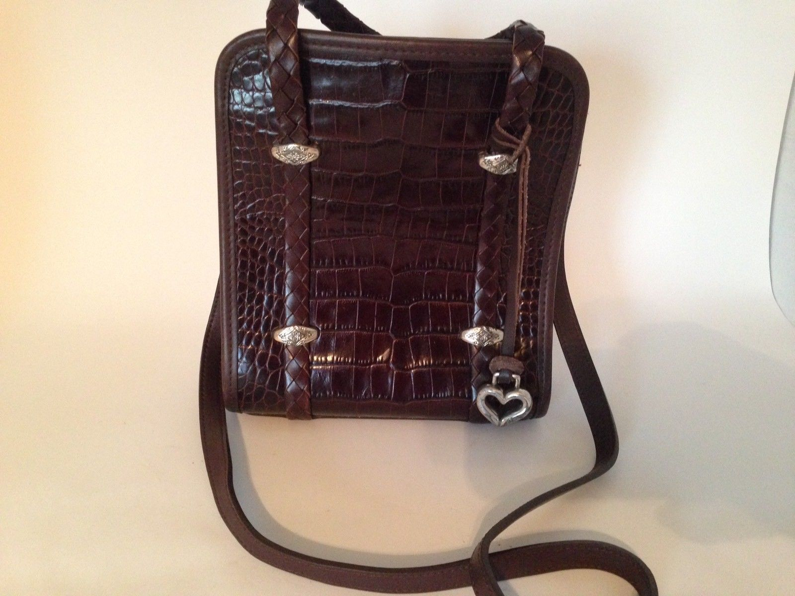 Brighton Brown Crocodile Embossed Leather Bag Detachable Shoulder Strap Purse