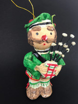 Vtg Hand Painted Figure Clay Composite Scottish Bagpipe Player Xmas Orna... - $16.44
