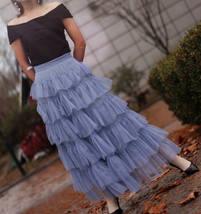 Pink Layered Tulle Midi Skirt High Waisted Layered Tulle Ruffle Skirt Custom image 7