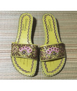 Coconuts by Matisse HALLE Embroidered Beaded Slide Sandals Sage • Womens... - $17.77