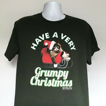 Have a Very Grumpy Cat Christmas Sleigh T Shirt Mens Large Meow Green Co... - $21.73