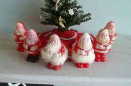 Santa Candy Container LOT of 6 Hard Plastic Celluloid Fur - $19.99