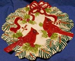 Serving Plate Christmas 10 in Platter Tray Make The Season Bright Cardinals - $19.79