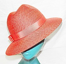 *GORGEOUS LADIES TRILBY IN HOT CORAL ORANGE VIBRANT CHIC HAT STRAW CORDE... - $15.31
