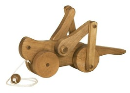 GRASSHOPPER PULL TOY - Wood Toy with Eye-Catching Leg Action Amish Handm... - $44.52