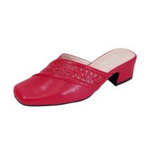 PEERAGE Darcie Women Wide Width Mid Heel Square-Toe Elegant Leather Mule   - $49.95