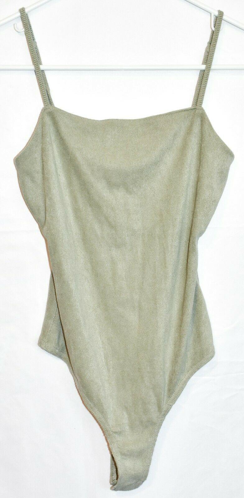 Le Lis Women's Mint Green Corduroy Ribbed Knit Square Neck Sleeveless Bodysuit S