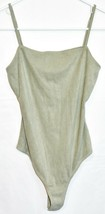 Le Lis Women's Mint Green Corduroy Ribbed Knit Square Neck Sleeveless Bodysuit S image 1