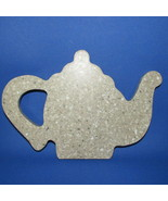 Teapot shaped trivet cheese plate cutting board decor faux stone granite... - $9.99