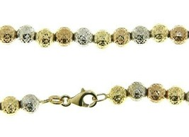 """18K YELLOW WHITE ROSE GOLD CHAIN WORKED SPHERES 5mm DIAMOND CUT FACETED 20"""" 50cm image 1"""