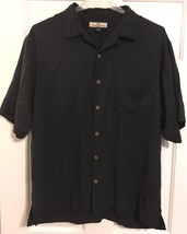 Tommy Bahama Mens S/S button up shirt 100% silk size L Black  - $19.99