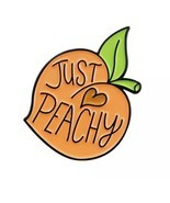 Just Peachy Enamel Pin Lapel Broooch Peach Fruit Juicy  -  $ 15.52