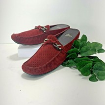 Stuart Weitzman Red Suede Open Back Loafers Mules Red Size 8 W - $39.57