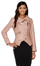 G.I.L.I. Leather Motorcycle Jacket with Zipper Details,Blush, Size 4, - $79.19