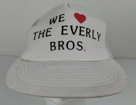 Vtg We <3 Heart Love the Everly Brothers White Trucker Hat Bootleg Homemade - $20.00