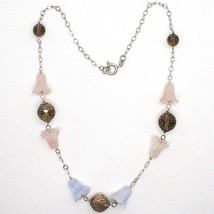 Necklace Silver 925, Bluebell, Flowers, Bells, Pink Quartz, Chalcedony image 2