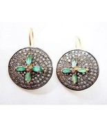 Handmade Rose Cut Diamond 1.20Ctw Silver Emerald Earrings Hoops Jewelry ... - $529.00