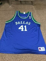 Dallas Mavericks Mavs Dirk Nowitzki Blue Champion Jersey 52 Good Condition - $247.49