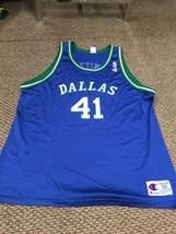 Dallas Mavericks Mavs Dirk Nowitzki Blue Champion Jersey 52 Good Condition - $247.49
