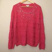 womens sweater size XL red embellished LIZ CLAIBORNE crew neck pullover  - $26.99