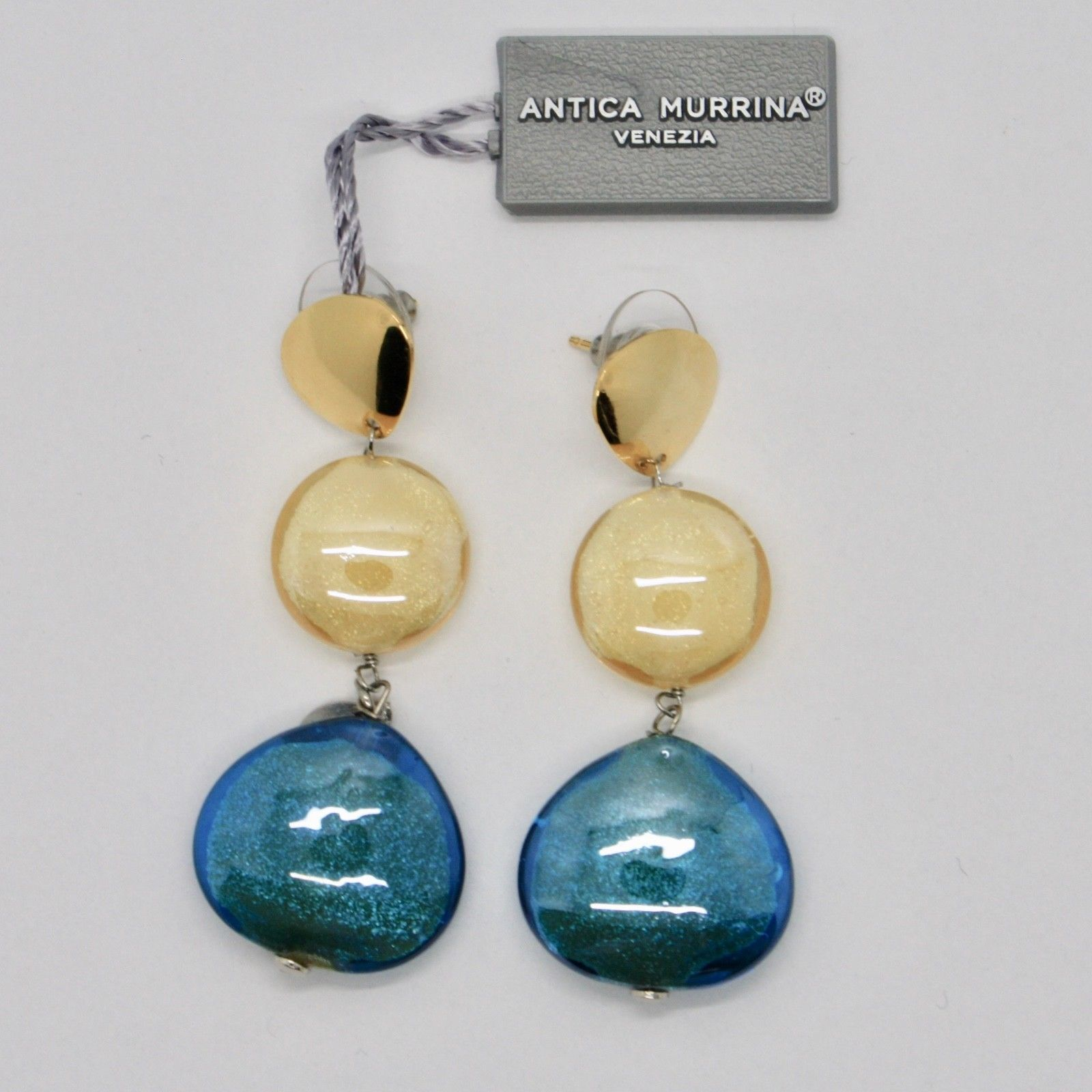 EARRINGS ANTICA MURRINA VENEZIA WITH MURANO GLASS YELLOW AND BLUE OR589A19