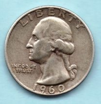 1960 D Washington Quarter - Circulated - Moderate Wear - $6.00