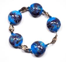 Sterling Silver Blue Purple 20mm Art Glass Round Disc Bead Wire Bracelet... - $15.83