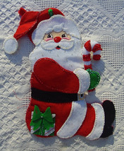 Vintage BUCILLA Candy Cane Santa Claus FINISHED Christmas Stocking Circa... - $139.97