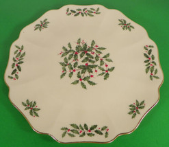 Lenox Dimension HOLIDAY Cake Plate Holly Berry Flat Scalloped - $39.55