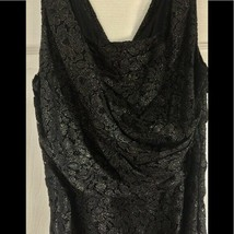 Express Lace Shimmer Ruched Party Dress Black Gold        image 2