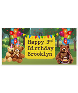 Teddy Bear Picnic Birthday Banner Personalized Party Backdrop - $22.28