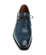 Handcrafted Navy Blue Medallion Lace Up Oxford Genuine Leather Dress Shoes - $129.99 - $179.99