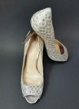 Enzo Angiolini Shoes Heels Textured Peep Toe Silver Womens Size 7.5 M - $39.56