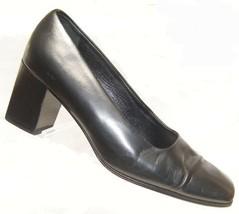 "Calvin Klein All Leather WOMEN'S Black 2.5"" Chunk U Heel size 7 1/2 Medium (2496 - $18.49"