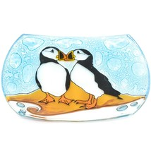Fused Art Glass Puffin Bird Design Orange Soap Dish Handmade Ecuador