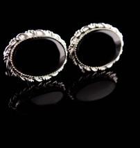 Vintage Sterling Cufflinks - Black tuxedo sets -Silver Cuff links - Wedding groo - $175.00
