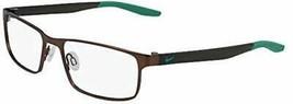 NEW NIKE 8131 206 Satin Walnut & Lucid Green Eyeglasses 55mm with Case - $89.05