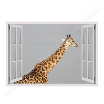 CANVAS (Rolled) Africas Giraffe Fake 3D Window Oil Painting Printed On C... - $12.90+