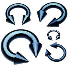 "Horseshoe Heavy 2 Gauge 5/8"" w/Spikes 10mm Titanium IP Blue Body Jewelry - $10.99"