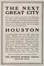 Houston Texas 1908 AD Next Great City Fastest Growing City In Southwest ... - $14.99
