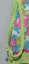 Mon Petit Lime Green Flowered Babydoll Top Bloomers Elastic Headband 18 Month image 2