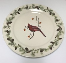 Sonoma Home Goods Red Cardinal Bird in Winter Christmas Serving Plate Pine Cones - $34.99