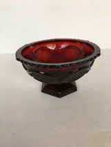 AVON CAPE COD  Ruby Red Glass 1960's Footed Candy Dish Trinkets Bowl Pre... - $9.89