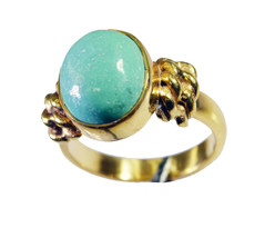 delicate Turquoise Gold Plated Multi Ring genuine gemstones US gift - $24.99